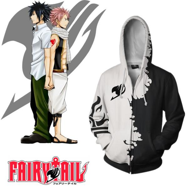 Asian Size Japan Anime FAIRY TAIL Natsu Halloween Cosplay Unisex Costume Zipper Long Sleeve Jacket Hoodie