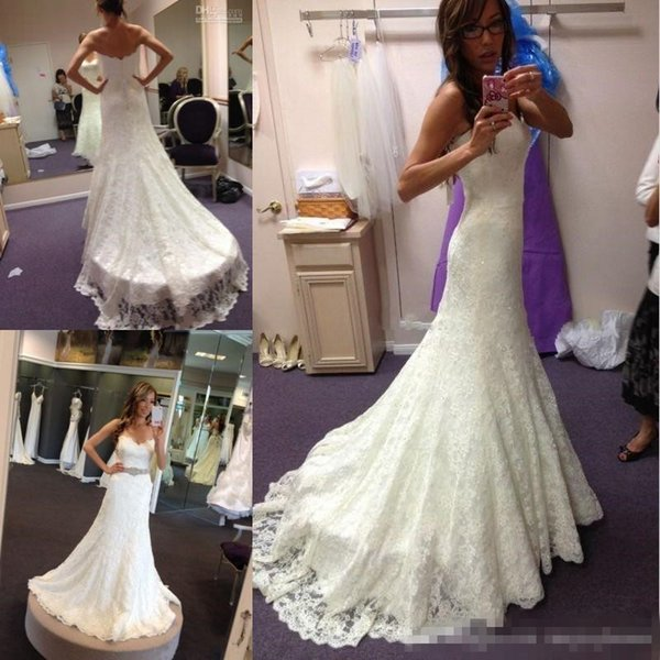 Mermaid Full Lace Wedding Dresses Crystal Beaded Sash Sweep Train Country Beach Lace Bridal Gowns Plus Size Sweetheart Neckline New Arrival