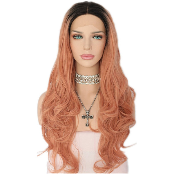 Free Shipping Ombre Black Roots To Peach Pink Natural Long Wavy Wigs With Middle Part Heat Resistant Synthetic Lace Front Wigs for Women