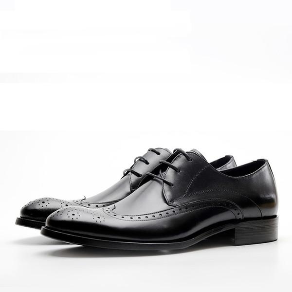 New Business Mens traspirante Lace-Up nero / rosso intagliato scarpe a punta scarpe da ufficio in pelle da sposa Oxford