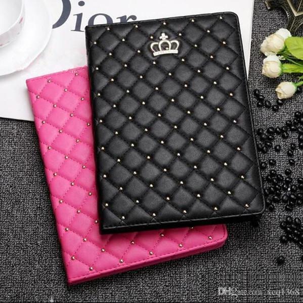 "For iPad mini 3 4 Luxury Grid Leather Flip Cover Case for iPad 9.7"" 2017 2018 wallet Flip cover for iPad Air 2 with card holder"