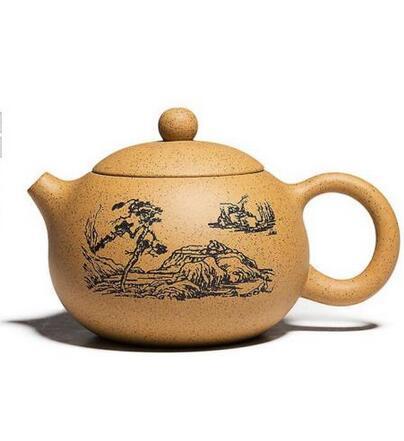Chinese Yixing zisha teapot handmade duanni Engraved paint xishi teapot 380cc