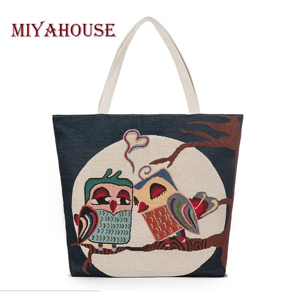 Miyahouse Casual Canvas Design Handbag Women Owl Printed Embroidery Canvas Shoulder Bag Female Summer Ladies Beach Bag