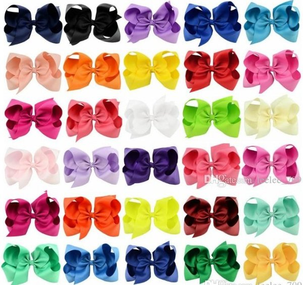 best selling 37 Colors 6 Inch Fashion Baby Ribbon Bow Hairpin Clips Girls Large Bowknot Barrette Kids Hair Boutique Bows Children Hair Accessories KFJ125