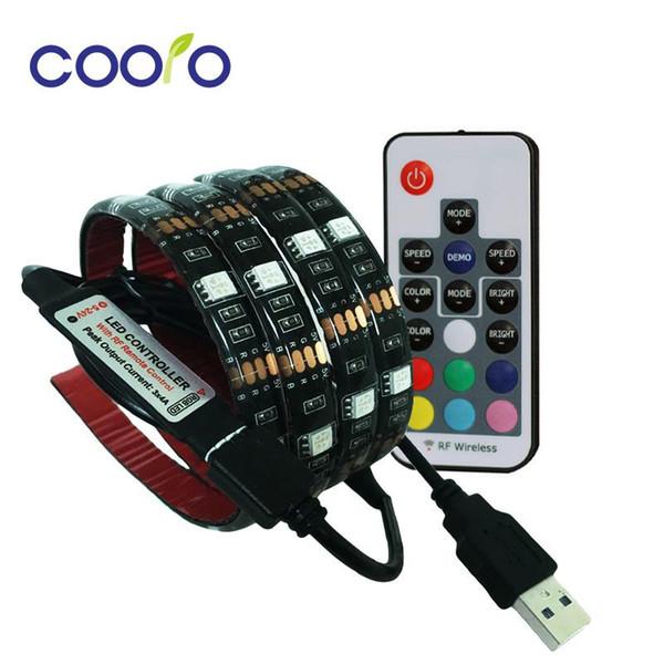 Tira de LED USB 5050 RGB TV fundo iluminação Kit Cuttable com 17Key controlador RF ou Mini 3Key controlador, 1 M / 2 M Set