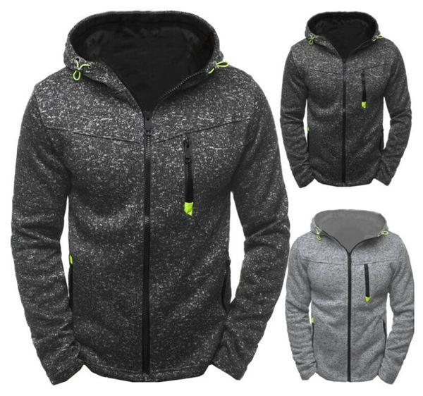 2018 new men's casual sports sweater jacquard sweater fleece cardigan hooded jacket Fitness training jacket Jogging Clothing