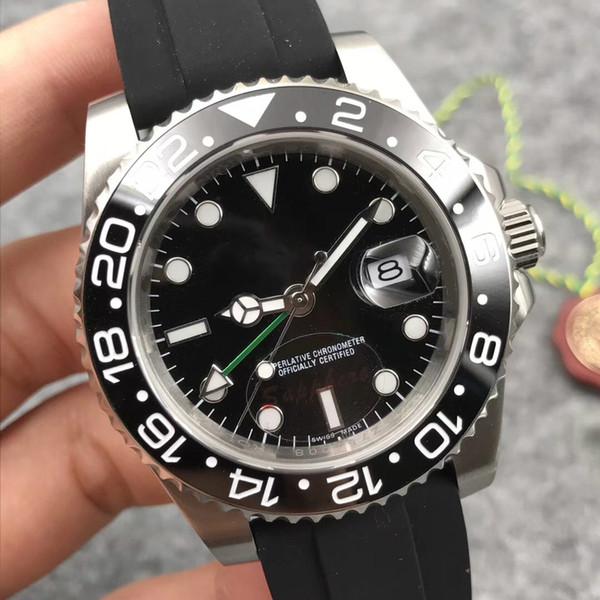 A2813 Automatic movement Black ceramic bezel GMT II men quality watches Sapphire glass 40mm RUBBER STRAP big window date wristwatch luxury