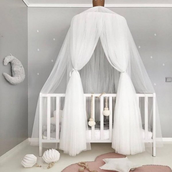 Round Canopy Baby Bed Mosquito Net Dome Hanging Cotton Bed Canopy Mosquito Net Curtain For Hammock Baby Kids Tent Moustiquaire