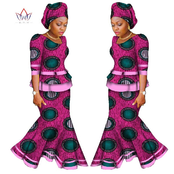 2018 African Skirt Set For Women Africa Traditional Skirt and Top Dashiki Pint Wax Two Piece Suits African Clothes WY950