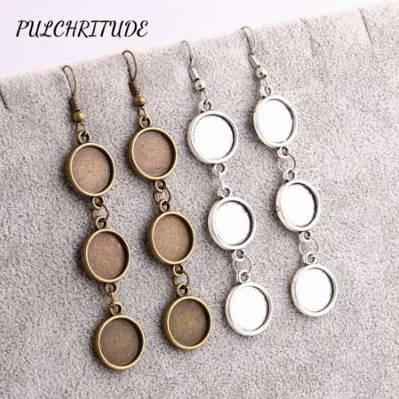 PULCHRITUDE Metal Alloy 14pcs Fit Round 12mm Cabochon Base Earring Back Pendant Fashion Blank Cameo Base Diy Jewelry Make C1468