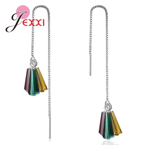 JEXXI Most Popular Bohemia Styles Long Thread Box Chain 925 Sterling Silver Colorful Crystals Drop Earrings For Women Pendientes