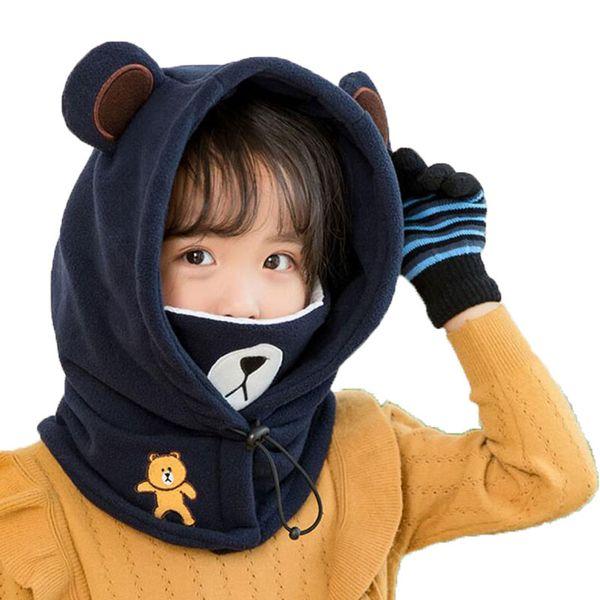 Beanie Warm Hat Kids Children Hooded Hat Scarf Fleece Winter Adjustable Circulal Earflap Ear Cap Scarves With Cartoon Bear Mask MZ7135