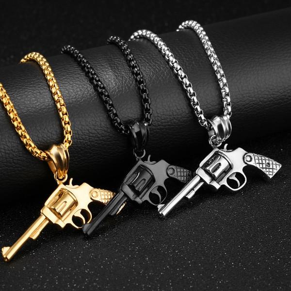 Collier exquis de collier pendentif mode argent or noir bijoux de couleur boîte en acier inoxydable lien de la chaîne des hommes