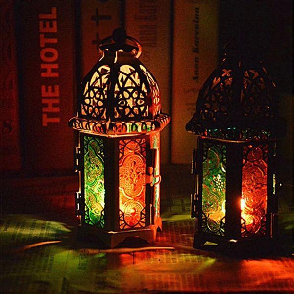 Vintage Métal Creux Bougeoir Couleur Verre Cristal Marocain Bougeoir Suspendu Lanterne De Noce Décor À La Maison