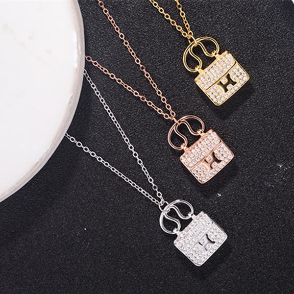 New 925 sterling silver H letter bag full Diamond Pendant Necklace jewelry female handbag pendant Women's H Pendant Necklaces