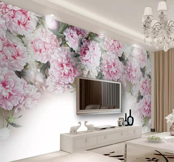 Großhandel Benutzerdefinierte Fototapete Europäischen Romantischen  Pfingstrose Blume TV Hintergrund Wandbild Schlafzimmer Hotel Thema  Restaurant ...