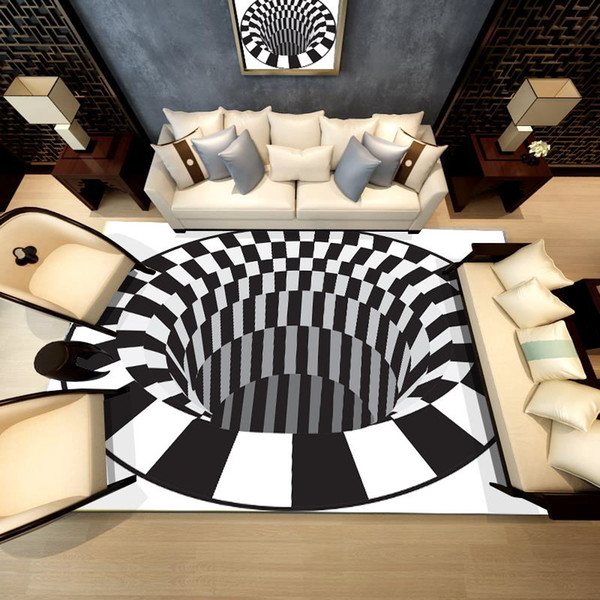 3D Pattern printed carpet modern geometric coffee table bedroom living room footpad non-slip model carpet Decoration
