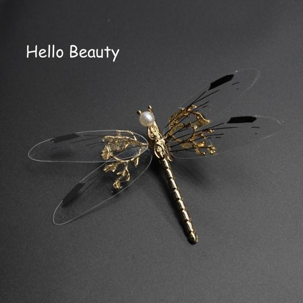 3 PCS Novel Fancy Metal Wedding Hair Clip Bridal Pearl Hair Barrette Animal Dragonfly Hairpin For Women Bride Head Accessories S919