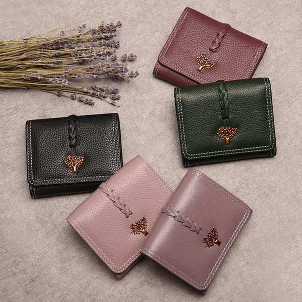 Women Wallet Life Tree Designer Genuine Leather Luxury Fashion 100% Leather Coin Purse Lady Credit Card Holder Female Wallet