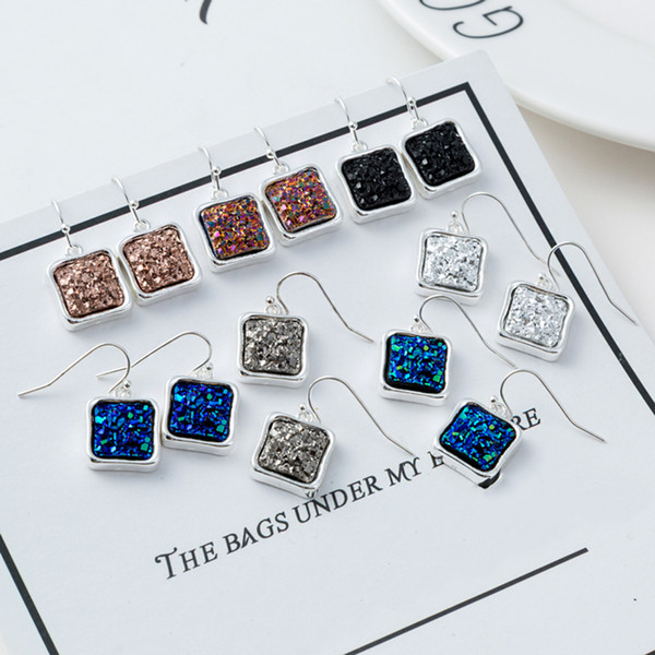 1 Pair Bohemian Square Crystal Drop Earrings Pendant Dangle Earrings Women Vintage Ethnic Jewelry