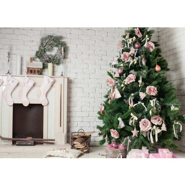 Indoor Fireplace Garland Merry Christmas Backdrop Printed Pink Balls Flowers Decorated Pine Tree Newborn Baby Girl Backgrounds