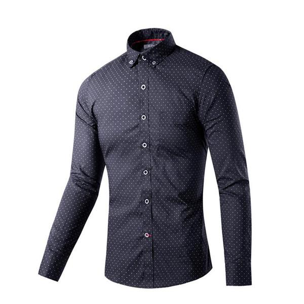 Dress Shirts Mens Fashion Luxury Stylish Casual Designer Dress Polka Dot Shirt Muscle Fit Shirts 2 colo