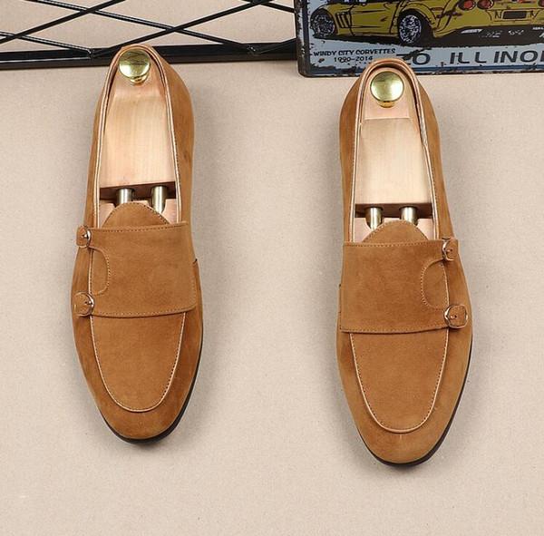 Buckle Zapatos Pisos Gamuza Mocasines Hombres Compre On Slip Verano qw0zxntB6