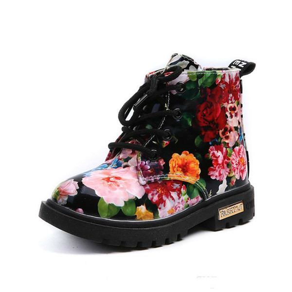 Cute Girls Boys Boots For 2018 New Fashion Elegante Floral Flower Print Bambini Boy Winter Shoes Baby Martin Stivali casual in pelle per bambini stivali