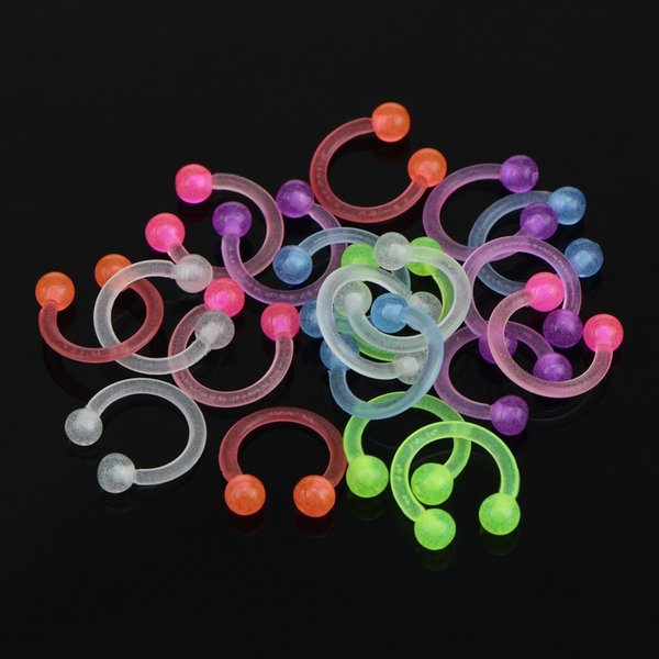 Acrylic Body Piercing Lumiouns SOFT Nose Ring Flexible nose studs eyebrow ring 10pcs Lot