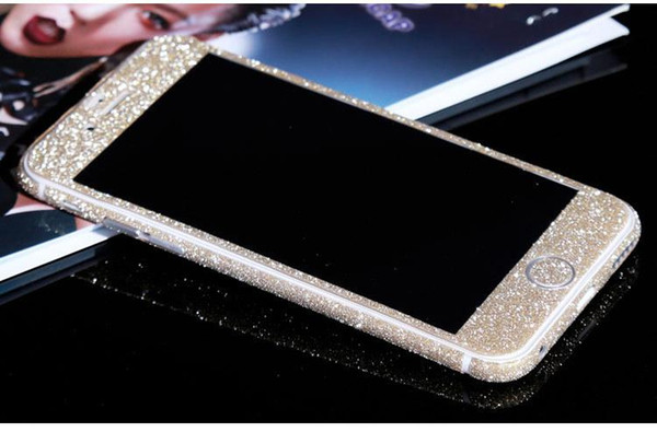 best selling Glitter Bling Shiny Full Body Sticker Matte Skin Screen Protector For iphone7 7plus 6 6S plus 5 5S Samsung S7 edge S8 plus Front+Back decals