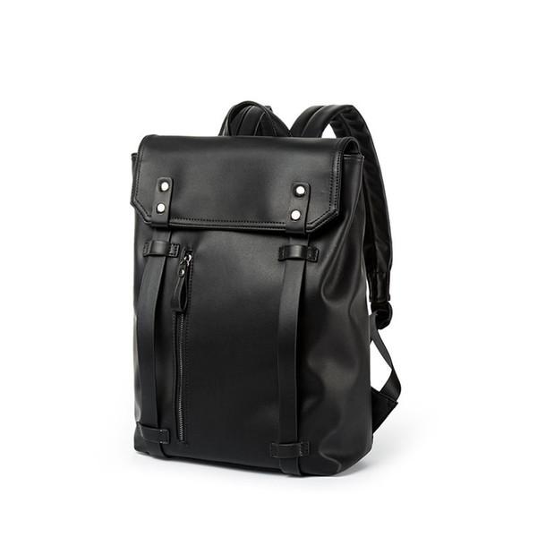 Backpacks for men PU Black Leather Men s Shoulder Bags Fashion Business  Vintage boy Backpack School Bag b7392c23cd8d3