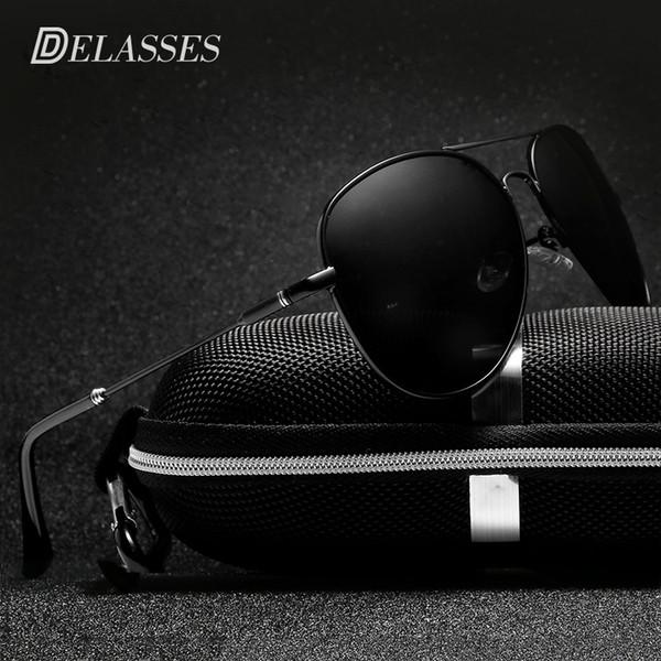 DELASSES Brand Designer Men Polarized Sunglasses Driving Metal Frame Retro UV400 Pilot Sun Glasses Las gafas de sol shades E022