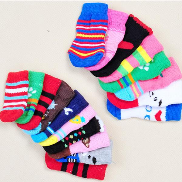 4pcs Dog Sock Warm Latex Skid-Proof Socks For Dogs Clothing Shoes Anti Slip Pets Socks Dog Print Socks Dog Leg Warmers S-XL