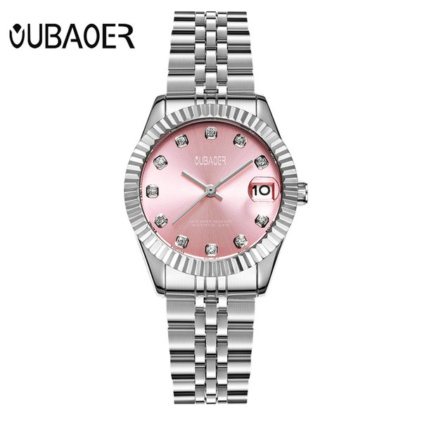 OUBAOER Business Quarz Frau Uhr Edelstahl Armband Diamant Damen Uhren Auto Datum Frauen Armbanduhren Relogio 6090LB