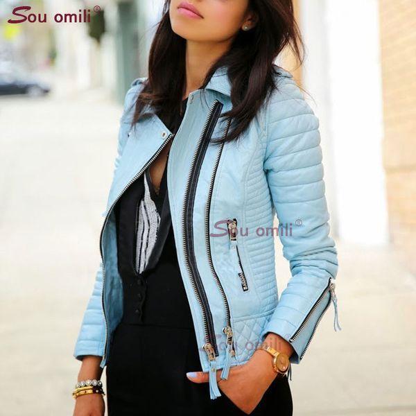 جاكيت جلد أزرق للنساء برشام الشرير موتو معطف فو سترة jaquetas couro casaco chaqueta cuerina موهير