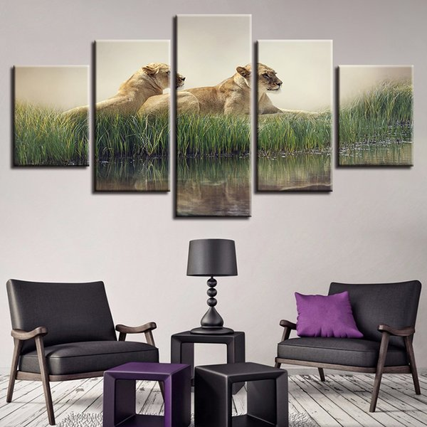 Wall Art HD Printed 5 Pieces Lions Pictures Modular Riverside Grass Animal Landscape Poster Canvas Paintings Living Room Decor
