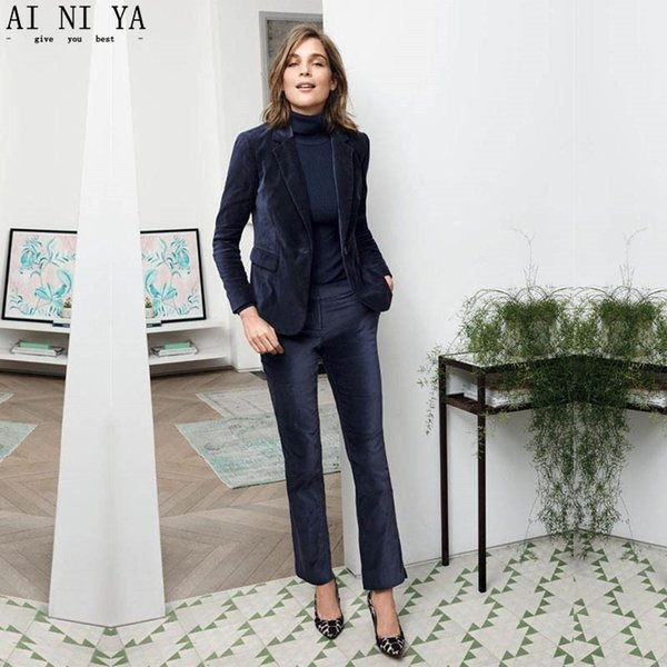 NEW 2018 Navy Velvet 2 piece set women business suits ladies elegant pant suits female office uniform slim women trouser suit