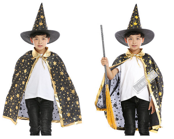 best selling Halloween Cloak for Kids Stars Printed Hat Cape Magic Witch Cosplay Sets Costumes