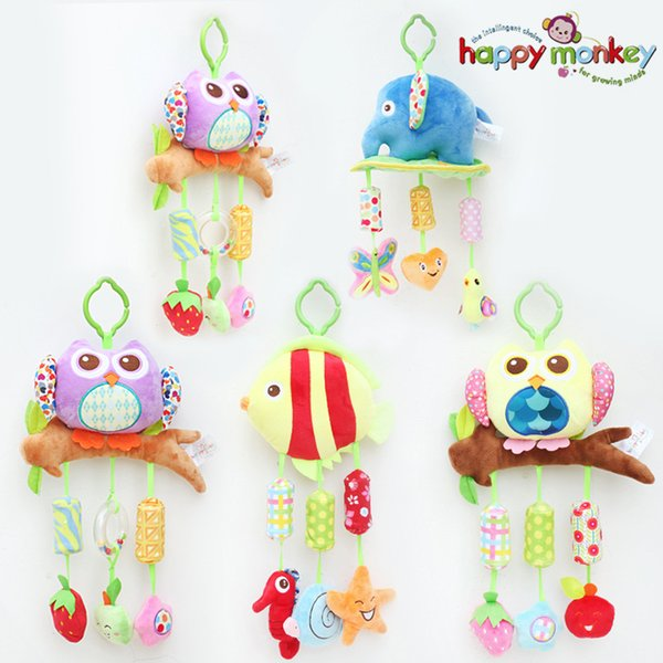 40cm Baby plush Owl lathe hanging bells Baby toy for bed with 3 Wind chimes Owl elephant little fish soft toy WJ285