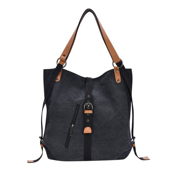 Women's Canvas Totes Vintage High Quality Female Hobos Shoulder Bags Lady Solid Color Hasp handbag women bag torebki damskie #W