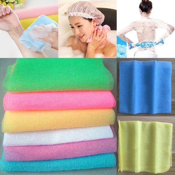 best selling 30*90cm Salux Nylon Japanese Exfoliating Beauty Skin Bath Shower Wash Cloth Towel Back Scrub Bath Brushes Multi Colors Free DHL WX9-440