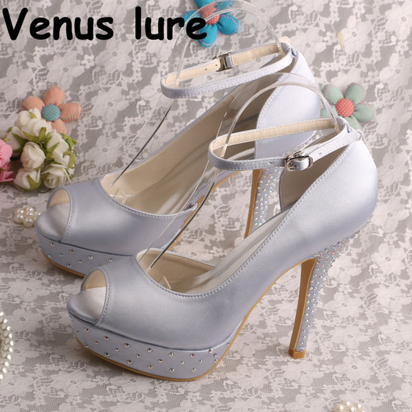 12cm Heel Wedding Shoes Silver Prom Sandals Crystal Ankle Strap Women Shoes