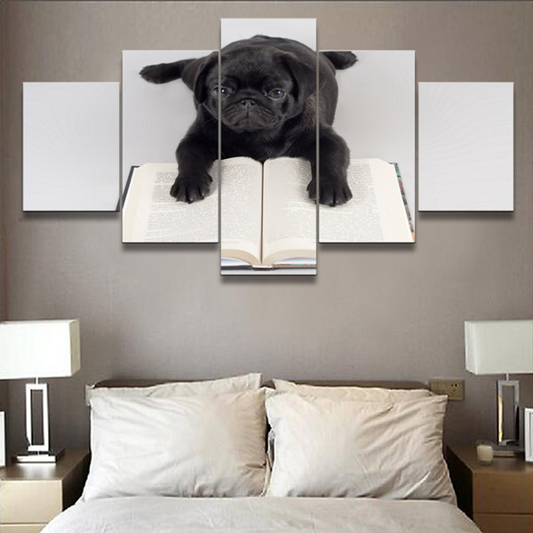 Painting Wall Art Modern Canvas Pictures Modular Poster Living Room Home Decor 5 Panel Black Dog And Book Framework HD Printed