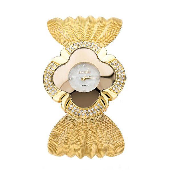 Attractive 2017 New Design Gold and Sliver Lady Diamond Bracelet Watch Mirror Luxury Quartz Alloy Watch High Quality My 10