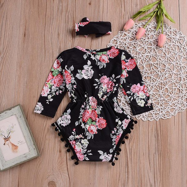 the new fashion trend Newborn Baby Girls Flower Bodysuit Jumpsuit Outfits Clothes Sunsuit wild printing lovely headband