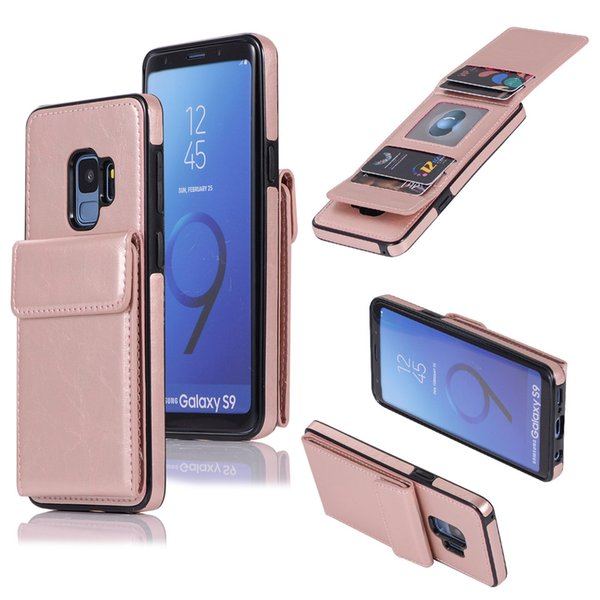 For Samsung s7 s8 s9 Luxury Business Flip Turn Up and Down Card Slot PU Leather Soft Phone Case With Card Slot Phone Bag Suit for Iphone