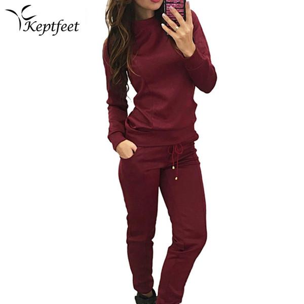 Outono Inverno Terno Do Esporte Mulheres Fatos de Treino de Algodão Pulôver Top Camisas Correndo Definir Ternos de Jogging Calças de Suor 2 pc Sportswear
