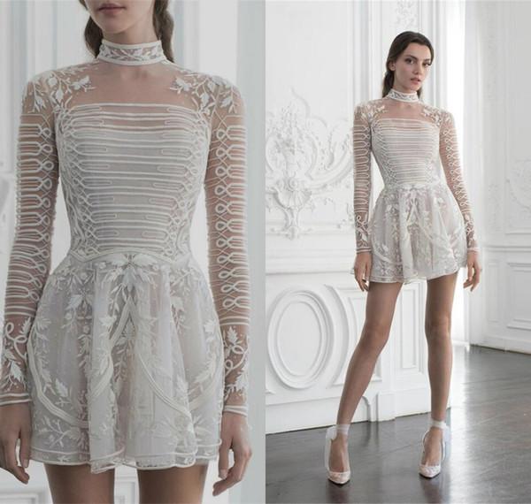 2019 Paolo Sebastian Prom Dresses Short Skirts Full Beading Long Sleeve Applique Party Pageant Dress Plus Size Evening Gowns Robes De Soirée
