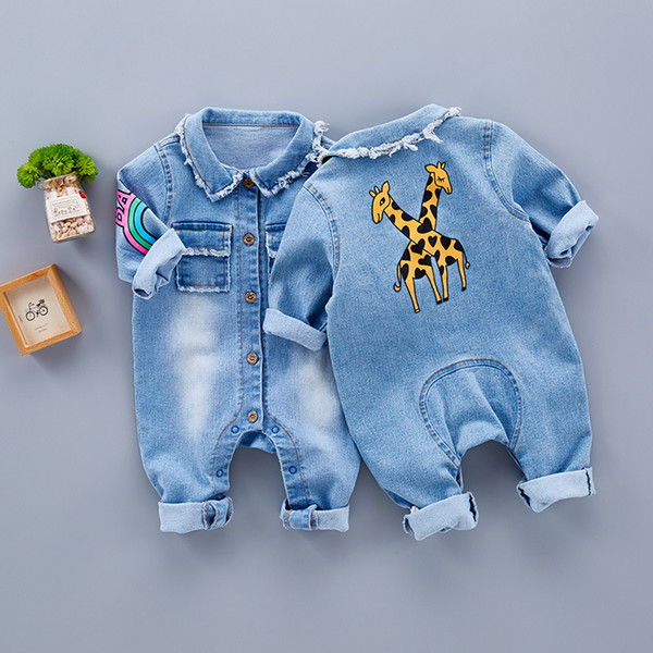 2017 Trendy Fashion Baby Soft Jeans One-piece Clothes Spring and Autumn Period of Thin T-Shirt Clothes To Climb The Baby Clothing Korean