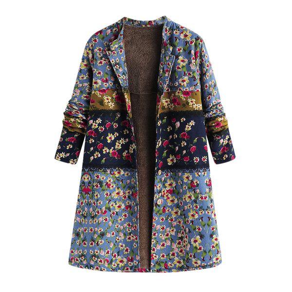 ISHOWTIENDA новые женщины зима теплая верхняя одежда кнопка цветочный принт карман старинные негабаритных пальто манто Femme Hiver 2018 Пальто женщин